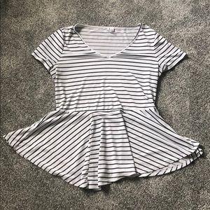 M white & black stripe peplum top